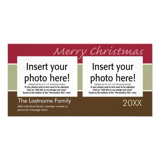 Merry Christmas Sherbet Stripes - 2 photos Card