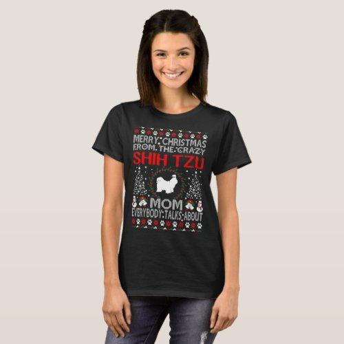 Merry Christmas Shih Tzu Dog Mom Ugly Sweater Tee After Christmas Sales 5396