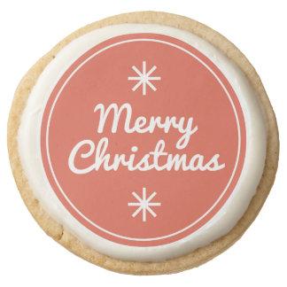 Merry Christmas Shortbread Cookies Round Premium Shortbread Cookie