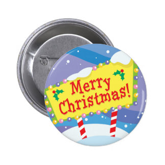 Merry Christmas Sign 2 Inch Round Button