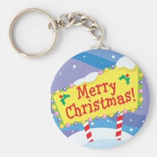 Merry Christmas Sign Basic Round Button Keychain