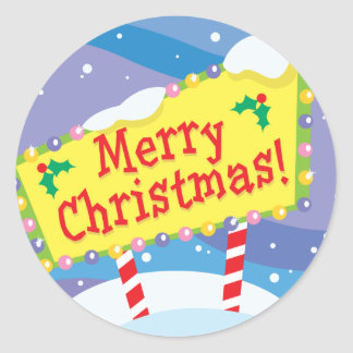 Merry Christmas Sign Classic Round Sticker