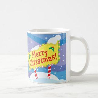 Merry Christmas Sign Classic White Coffee Mug