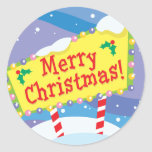 Merry Christmas Sign Round Sticker