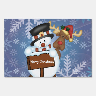 Merry Christmas Sign with Snowman and Reindeer