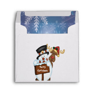 Merry Christmas Sign with Snowman and Reindeer Envelope