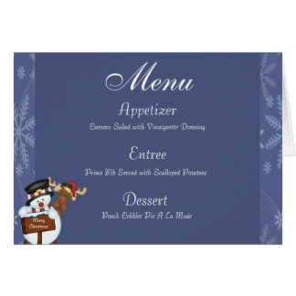 Merry Christmas Sign with Snowman and Reindeer Stationery Note Card