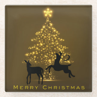 Merry Christmas Silhouette Deer and Golden Tree Glass Coaster