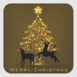 Merry Christmas Silhouette Deer and Golden Tree Square Sticker