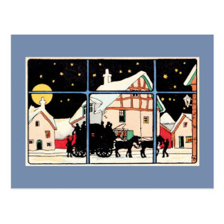 Merry Christmas silhouette vintage antique blue Postcard
