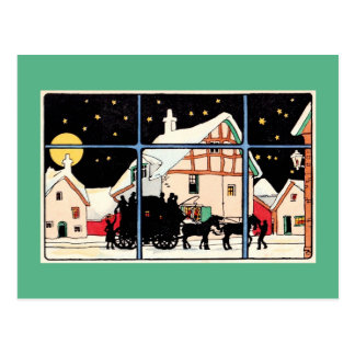 Merry Christmas silhouette vintage antique green Postcard