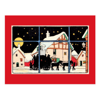 Merry Christmas silhouette vintage antique red Postcard