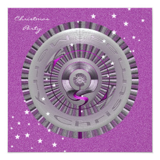 Merry Christmas Silver and Purple Wheel Card