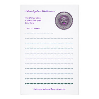 Merry Christmas Silver and Purple Wheel Stationery