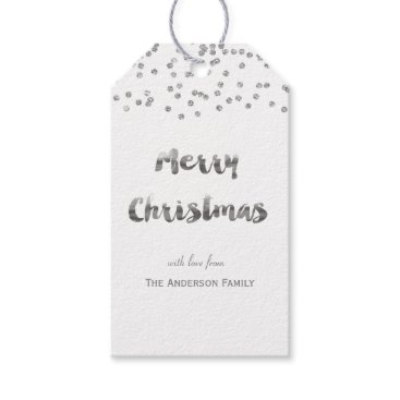 Christmas Themed Merry Christmas silver glitter gift tags