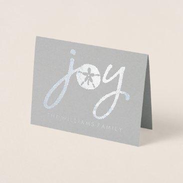 Beach Themed Merry Christmas | Silver Sand Dollar Foil Card