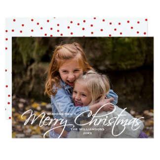 Merry Christmas Simple Calligraphy Family Photo Card