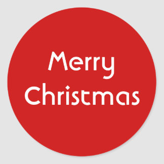 Merry Christmas. Simple Design. Red White Custom Classic Round Sticker
