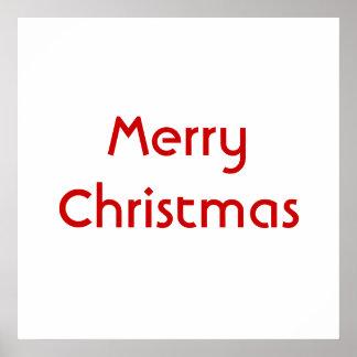 Merry Christmas Simple Design Red White Custom Poster