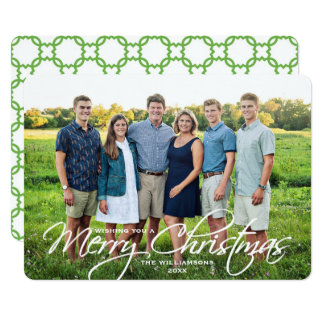 Merry Christmas Simple Elegant Script Family Photo Card