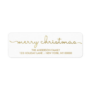 Merry Christmas Simple Gold Hand Lettered Label at Zazzle