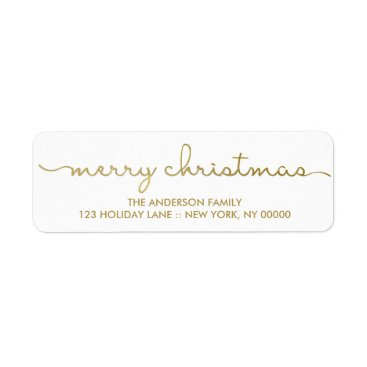 Christmas Themed Merry Christmas Simple Gold Hand Lettered Label