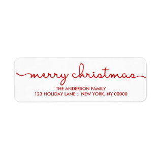 Merry Christmas Simple Hand Lettered Script Label at Zazzle
