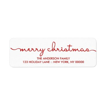 Christmas Themed Merry Christmas Simple Hand Lettered Script Label