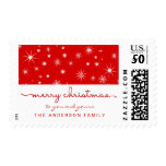 Merry Christmas Simple Hand Lettered Script Red Postage<br><div class='desc'>Festive whimsical stars and snowflakes with modern hand script text and personalized message. Matching hand-lettered script available on holiday photo cards,  magnetic flat cards,  and address labels.</div>
