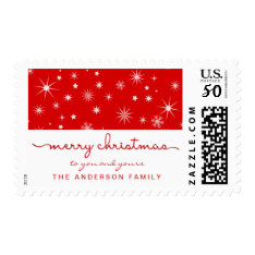 Merry Christmas Simple Hand Lettered Script Red Postage at Zazzle
