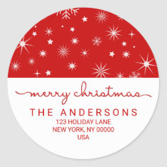Merry Christmas Simple Handwritten Return Address Classic Round Sticker at Zazzle