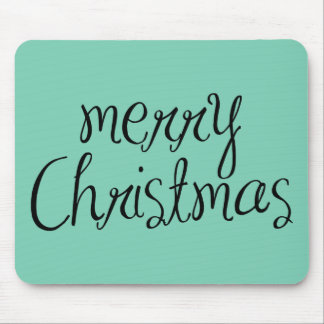 Merry Christmas - simple Handwritten Text Design Mouse Pad