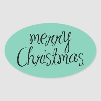 Merry Christmas - simple Handwritten Text Design Oval Sticker
