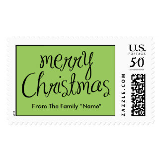 Merry Christmas - simple Handwritten Text Design Postage
