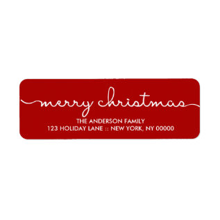 Merry Christmas Simple Red Hand Lettered Label at Zazzle