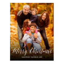 Merry Christmas Simple Script Chic Photo Postcard