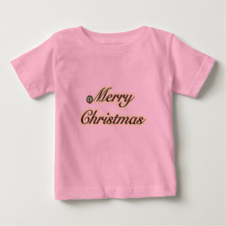 Merry Christmas Simple Text with Wreath Baby T-Shirt
