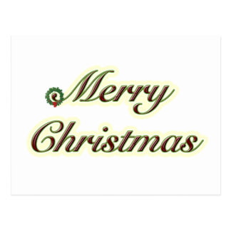 Merry Christmas Simple Text with Wreath Postcard