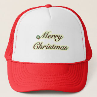 Merry Christmas Simple Text with Wreath Trucker Hat