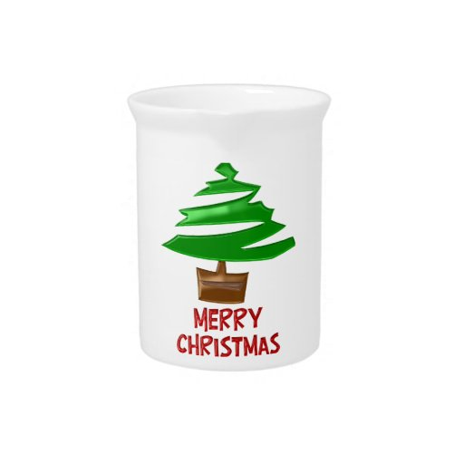 Merry Christmas Simple Tree Drink Pitchers
