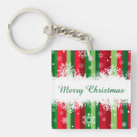 Merry Christmas Single-Sided Square Acrylic Keychain