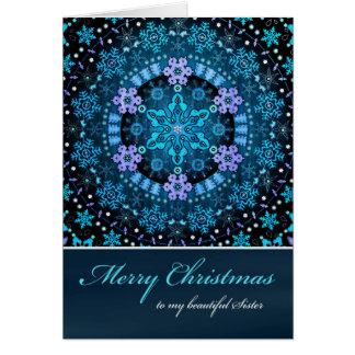Merry Christmas Sister, Blue Boho Snowflakes Card