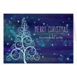 Merry Christmas Sister, Bokeh Effect & Tree Card