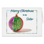 Merry Christmas Sister Multicolored Glass Ball Car Greeting Cards