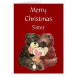 Merry Christmas Sister,Teddy Bear  Hugs Card