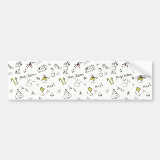 Merry Christmas Sketches Pattern Bumper Sticker