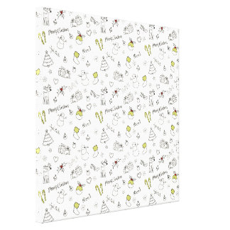 Merry Christmas Sketches Pattern Canvas Print
