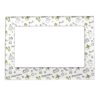 Merry Christmas Sketches Pattern Magnetic Frame