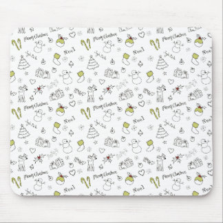 Merry Christmas Sketches Pattern Mouse Pad
