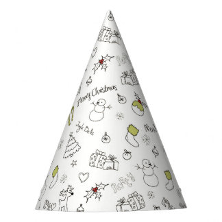 Merry Christmas Sketches Pattern Party Hat